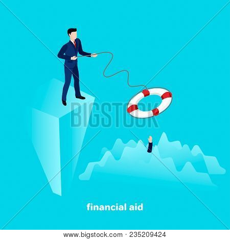 A Man In A Business Suit Throws A Lifeline, Financial Help In Business, An Isometric Image