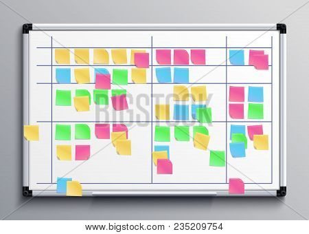 Meeting White Board With Color Stickers. Scrum Task Board With Sticky Notes Of Daily Plan Vector Ill