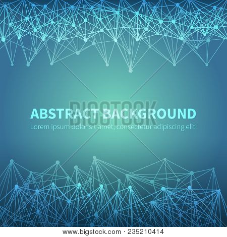 Abstract Geometric Chemical Scientific Vector Background With Molecular Structure. Illustration Of M