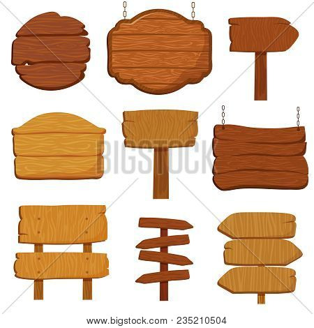 Empty Wooden Banners And Road Signs. Wood Signboards Isolated Vector Collection. Wood Plank And Blan