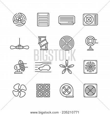Heating And Cooling Airflow Pictograms. Ventilation, Airing Filter, Fan, Blower, Aerodynamics, Turbi