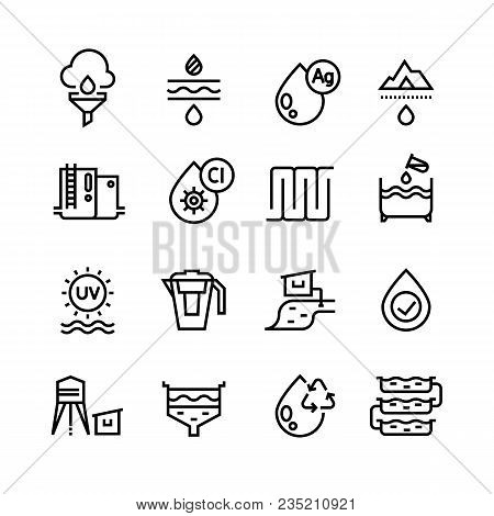 Effluent Water Treatment. Water Purification Linear Vector Icons. Illustration Of Purification Sewer