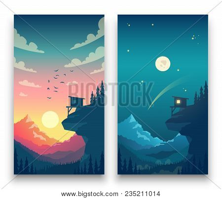 Day And Night Flat Vector Mountain Landscape With Moon, Sun And Clouds In Sky. Vector Concept For We