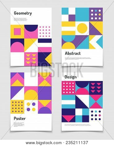 Vintage swiss graphic, geometric bauhaus shapes. Vector posters in minimal modernism style. Illustration of catalog album, banner journal modernism bauhaus poster