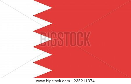 Flag Of Bahrain Oficial Proportions And Colors Vector Design