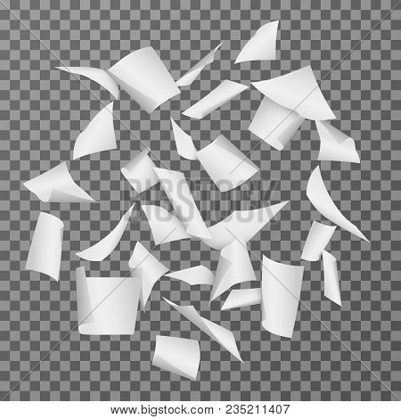 Flying Paper Document Sheets. Falling 3d White Blank Page Papers Vector Illustration Isolated. Paper