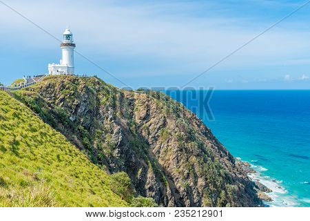 Ocean View Over Cape Byron Lighthouse, The Most Easterly Point On The Australian Mainland With Green