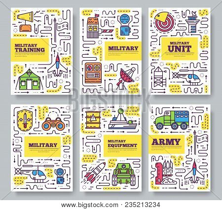 Thin Line Different Rocket Weapons Brochure Card Set.  Vehicles On Military Base Template Of Flyear,