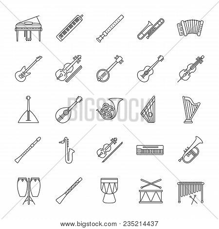 Musical Instruments Linear Icons Set. Orchestra Equipment. Stringed, Wind, Percussion Instruments. T