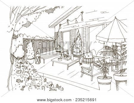 Freehand Sketch Of Backyard Patio Or Terrace Furnished In Scandic Hygge Style. House Veranda With Tr