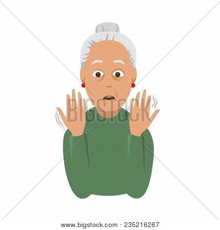 Tremor Hands. Elderly Woman Looking At The Shaking Hands. Symptom Of Parkinson's Disease. Medical Ve