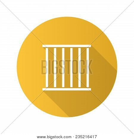 Prison Bars Flat Design Long Shadow Glyph Icon. Animal Cage. Jail. Vector Silhouette Illustration