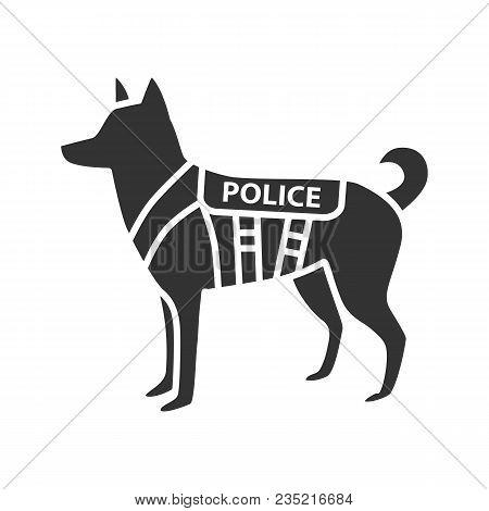 K9 Police Dog Glyph Icon. German Shepherd. Military Dog Breed. Silhouette Symbol. Negative Space. Ve