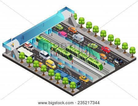 Isometric City Traffic Template With Moving Vehicles Tramway People Trees And Pedestrian Bridge Acro