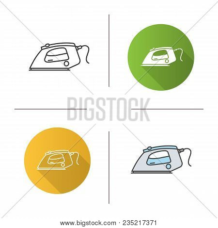 Steam Iron Icon. Flat Design, Linear And Color Styles. Isolated Vector Illustrations