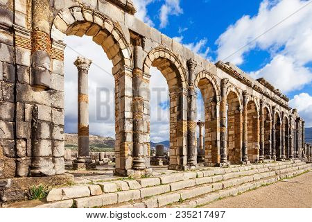 Volubilis Near Meknes In Morocco. Volubilis Is A Ruined Amazigh, Then Roman City In Morocco Near Mek