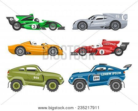 Sport Race Car Vector Speed Automobile And Offroad Rally Car Colorful Fast Motor Racing Auto Driver