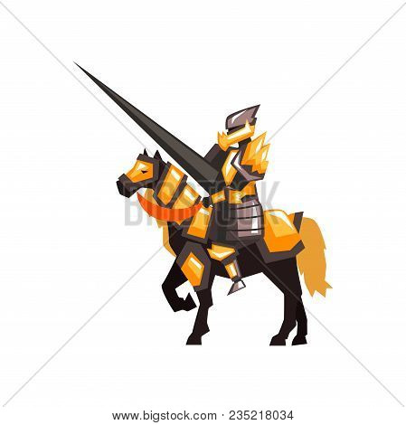 Cartoon Character Of Royal Knight On Horseback. Armored Horse Rider With Long Lance. Graphic Design