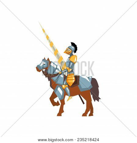 Brave Knight In Shiny Armor With Lance In Hand. Warrior On Horse. Jousting Tournament. Graphic Desig
