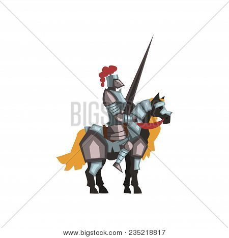 Cartoon Character Of Medieval Knight Riding Horse Holding Striped Lance. Royal Warrior In Shiny Armo