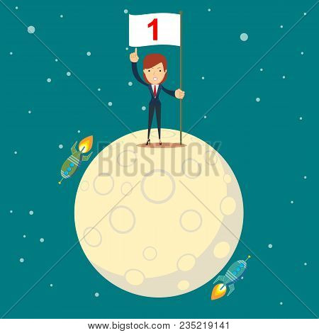 Astronaut Girl Moon Landing. A Businesswoman Conquered The Moon. Happy Businessman Holding Number On