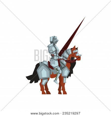 Medieval Knight Sitting On Horse And Holding Lance In Hand. Royal Warrior In Shiny Armor. Jousting T