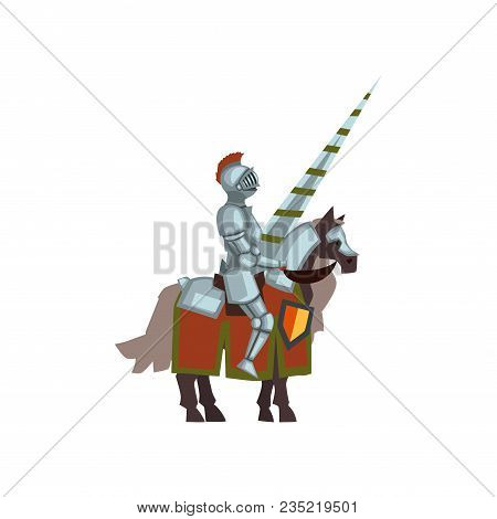 Knight On Horse With Lance In Hand. Cartoon Character Of Brave Warrior In Steel Armor And Helmet Wit