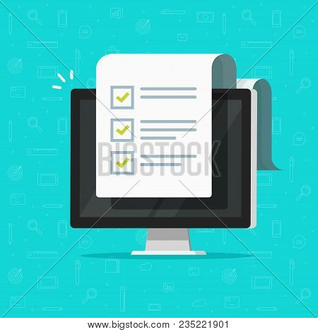 Computer And Checklist Vector Illustration, Flat Cartoon Pc Monitor With Long Paper Document And To
