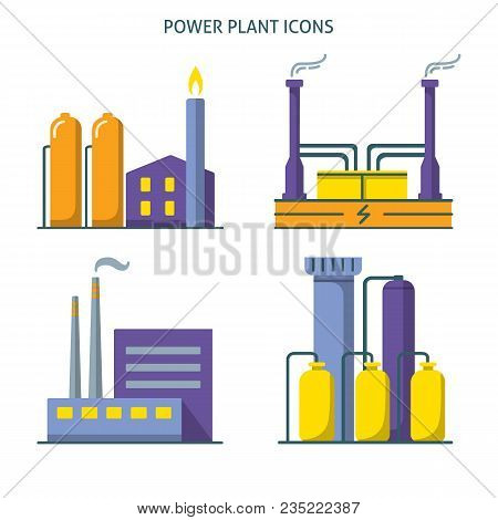 Power Plant Icons Collection In Flat Style. Energy Industrial Symbols Set Isolated On White.
