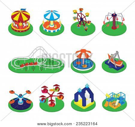Carousel Vector Carnival Circus Icons With Merry-go-round And Roundabout In Amusement Park Illustrat
