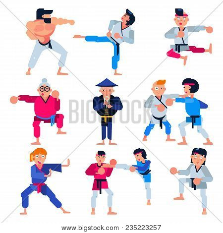 Karate Vector Martial Karate-do Character Training Attack Illustration Set Of Man Or Woman And Elder