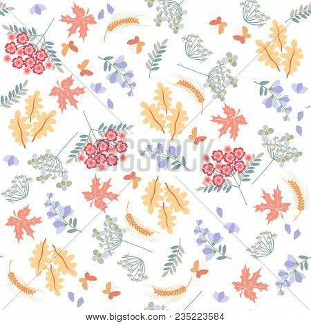 Summer Seamless Pattern With Beautiful Wildflowers, Leaves And Ear Of Wheat On White Background. Vec