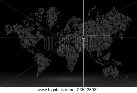 World Map Of Planet Earth, Pointer Of Coordinate Detection. Geolocation Finding Calculation. Geograp