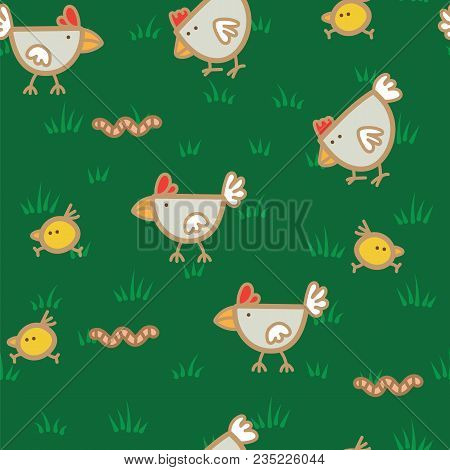 Pattern Chickens Walking On Green Grass And Pecking Worms Background. Chicken Pattern Background