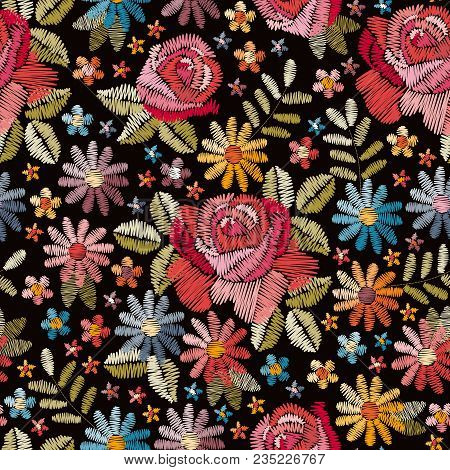 Embroidery Seamless Pattern With Beautiful Colorful Flowers. Floral Background In Vintage Style. Fan