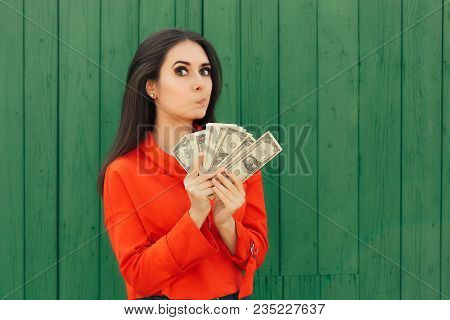 Funny Casual Girl Holding Money Ready to Make Payment poster