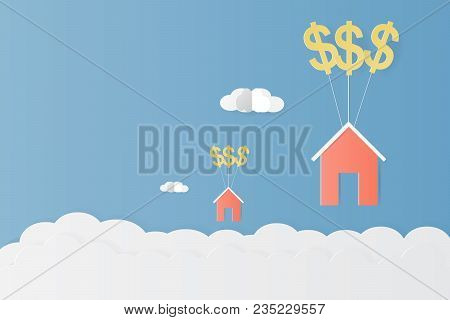 House Hanging With Dollar Sign Balloon And Cloud Paper Art Vector Illustration Design For Asset Mana