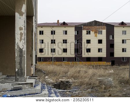 Modern Abandoned Building. Abandoned Concrete Building. Contemporary Architecture. Central Asia. Unf