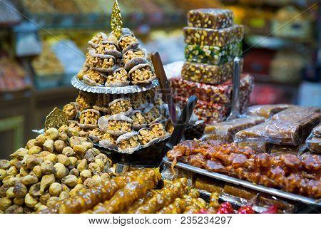 Turkish Desser Baklava With Pistachio, Honey And Walnut. Tasty Turkish Delights.