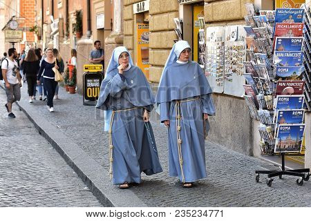 Italy Rome. May 04,2017. The Nuns Are Walking Along The Street Of Rome.