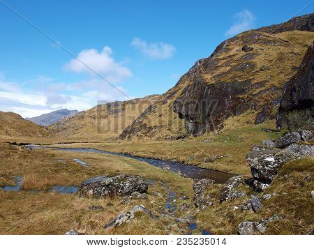 Finiskaig River On The Cape Wrath Trail, Just Before Loch Nevis, Scotland Higlands, West Coast
