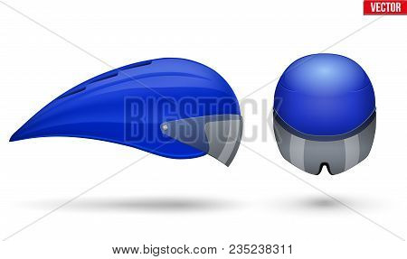 Set Of Time Trial Bicycle Helmet Models. Front And Side View. Equipment Of Road Bicycle Racing. Blue