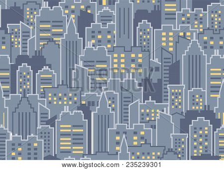 Night City Scape Seamless Pattern. City Background. Downtown Landscape With High Skyscrapers. Panora