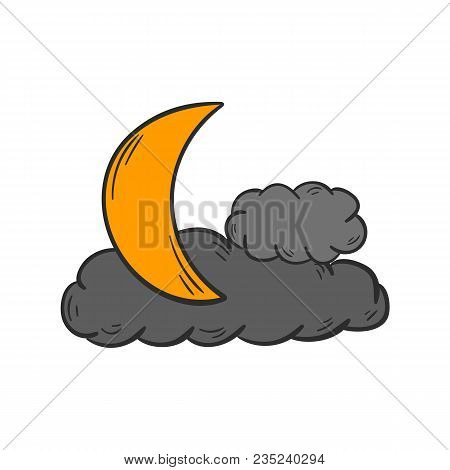 Vector Cartoon Illustration With Hand Drawn Gray Night Clouds And Yellow Moon. Scary, Magic, Mystery