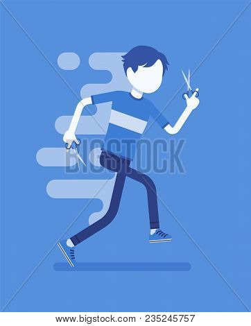 Boy Running With Scissors. Young Man Doing Dangerous, Reckless Things, Forbidden Or With Potential D