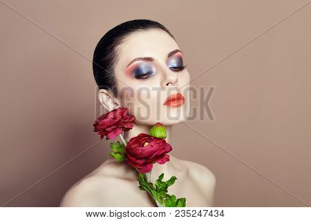 Large Flowers Woman Face Makeup, Art Fashion Flowers Girl, Nature Face Care, Natural Cosmetics And P