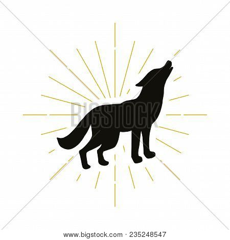Retro Standing Howling Wolf Silhouette Logo. Nature Sign And Vintage Logotype. Wild Animal Icon. Zoo