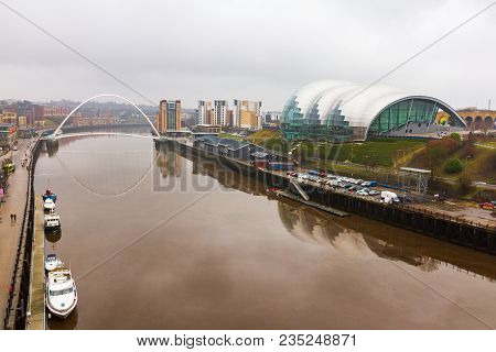 Newcastle, England - March 6, 2018: Newcastle Quayside With Sage, Gateshead Millenium Bridge And Boa