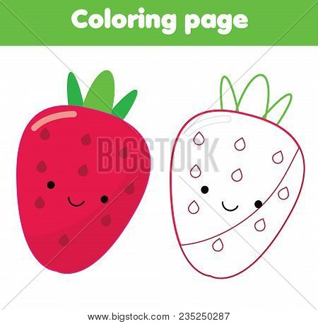 Coloring Page. Educational Children Game With Cute Kawaii Strawberry. Drawing Printable Activity For