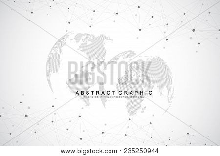 Big Data Complex World Globe. Graphic Abstract Background Communication. Perspective Backdrop Of Dep